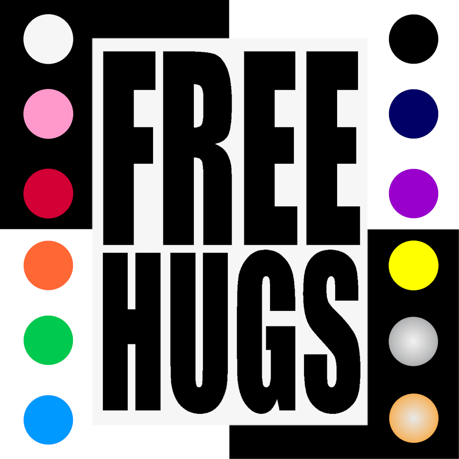 Free Hugs Iron On Transfer 28x20cms for ALL Garments
