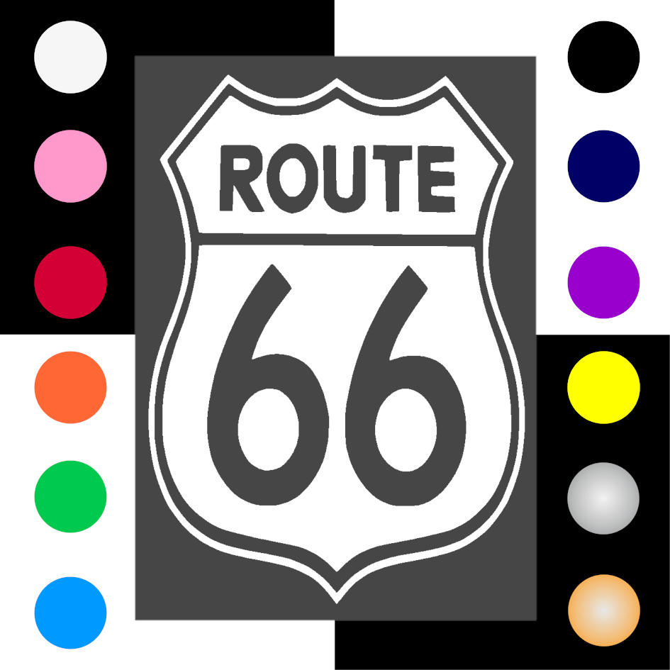 Route 66 Iron On Transfer 28x20cms for ALL Garments