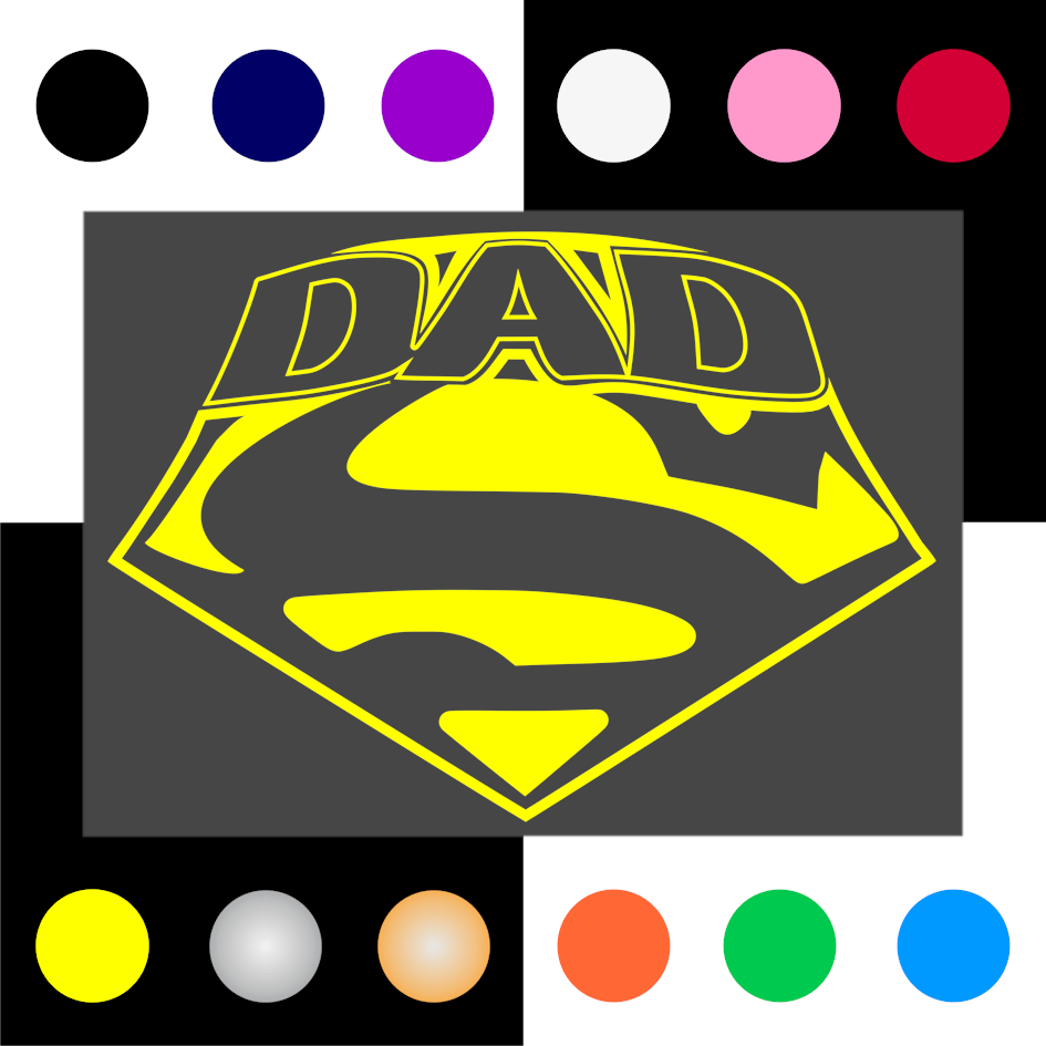 Super Dad Iron On Transfer 28x20cms for DK Garments