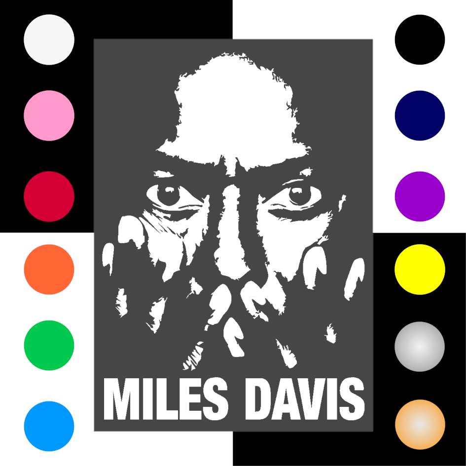 Miles Davis Iron On Transfer 28x20cms for DK Garments