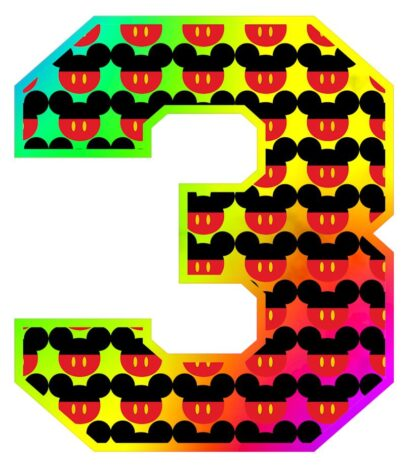 Multi Colour Mickey Number 3