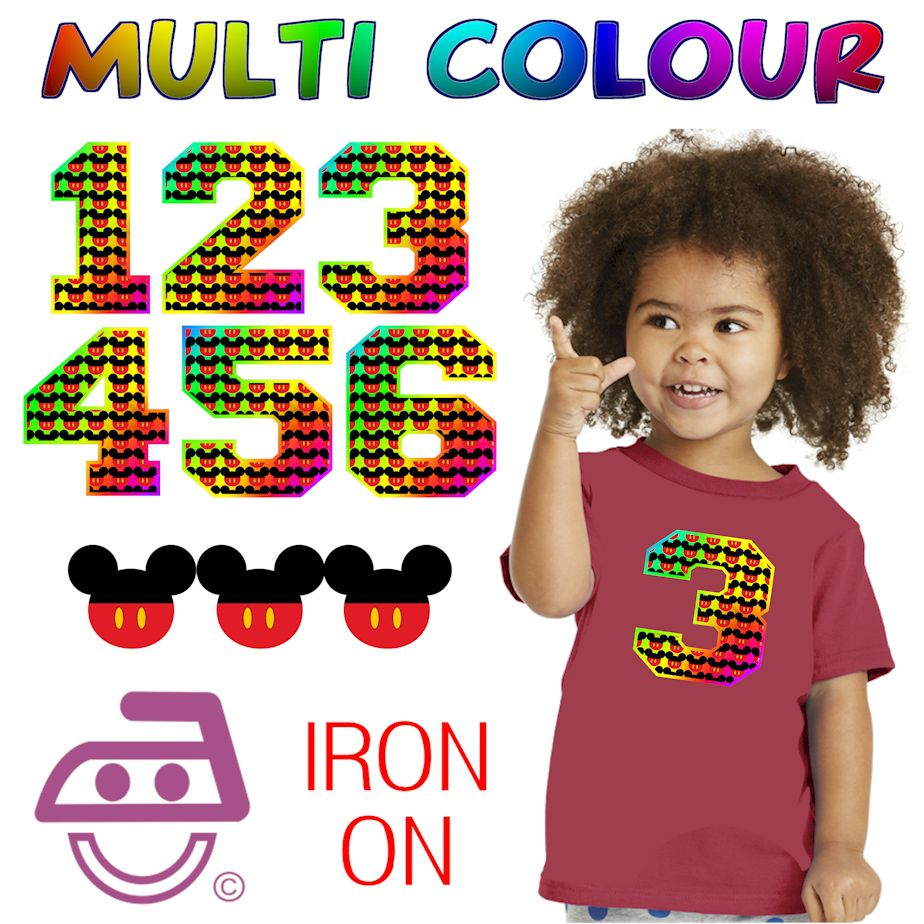 Multi Colour Mickey Iron On Numbers Age 1 - 6 yrs