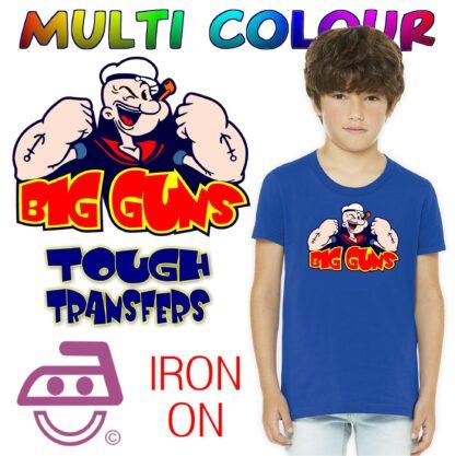 Popeye Big Guns Iron On Transfer
