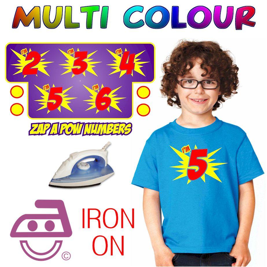 Zap Pow Iron On Transfer Numbers Kids Age 2 - 6