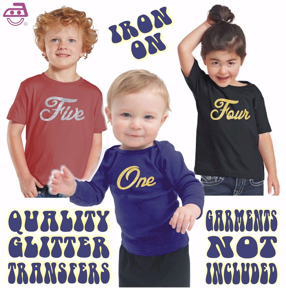 Kids Iron On Glitter Transfer Cursive Ages 1 to 6