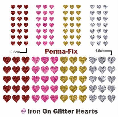 Iron On Glitter Hearts
